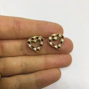 Avon heart shaped earrings stud post back red gold
